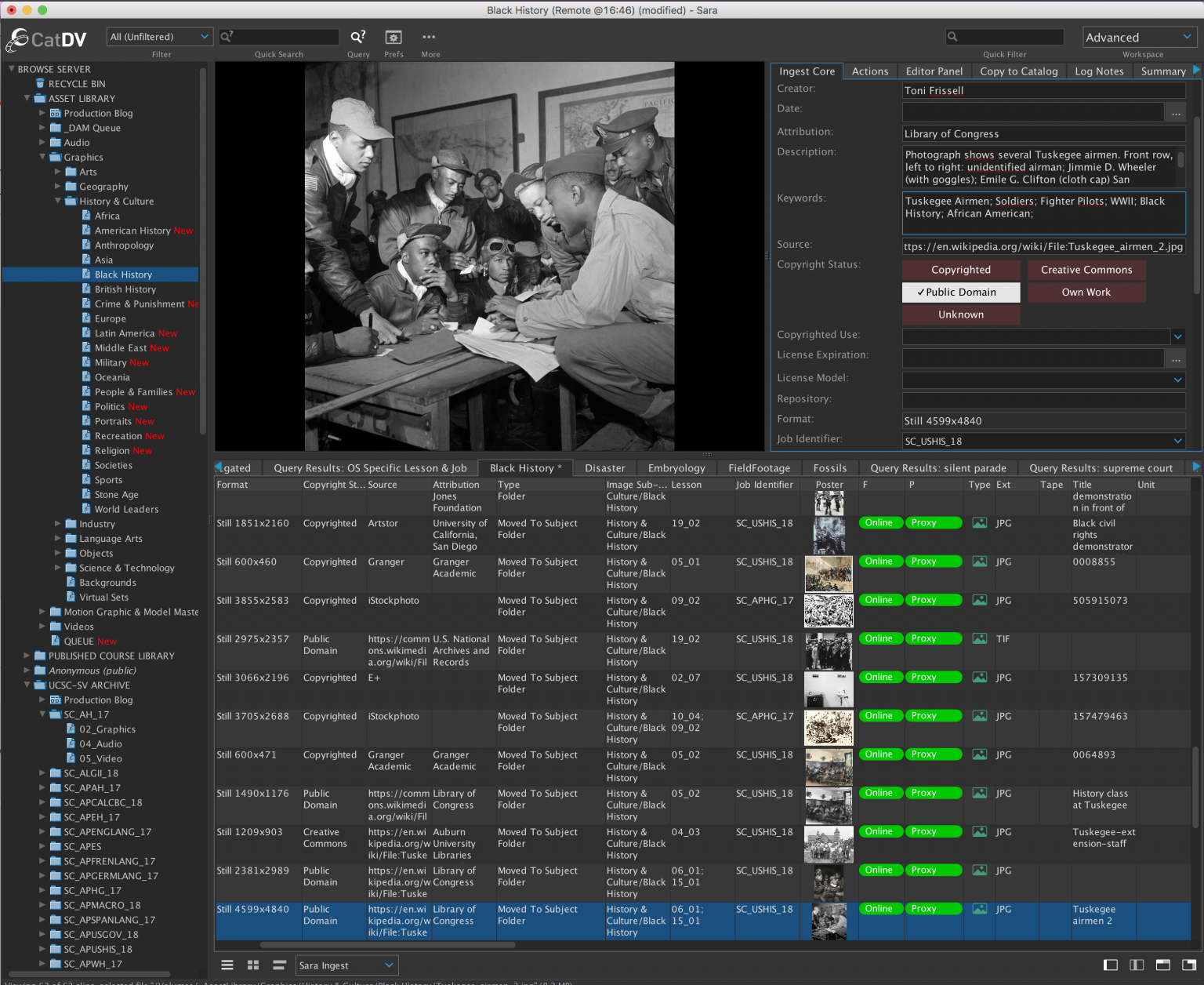 A view of a visual asset and the metadata I assigned to aid discoverability in a wider contextual range.